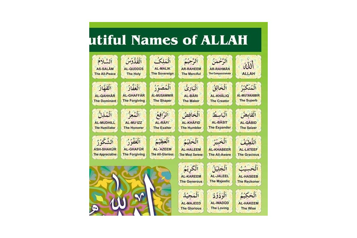 Most Beautiful Names of Allah with ENGLISH (Poster) - Dar-us-Salam