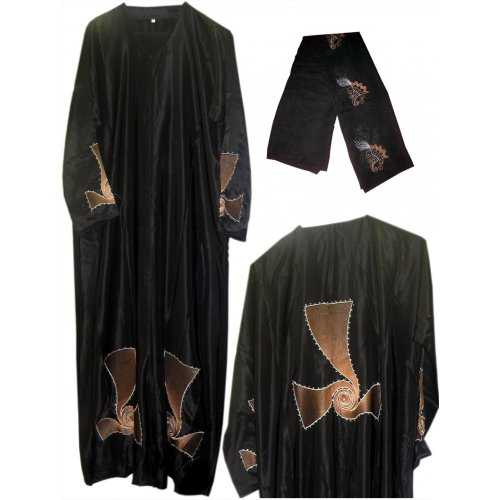 Black Embroidered Satin Abayah (Front Open)