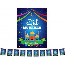 Eid Mubarak - Square Flags (Blue)